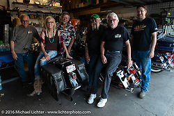 Pre Love Thy Chopper 10 stop at Two-Wheelers to visit Arlen Fatland, Donna Maupin, Rick Pew, Dickie Lee and Doug,  . Denver, CO, USA. July 15, 2016.  Photography ©2016 Michael Lichter.