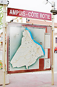 A map in the center of the town of Ampuis showing an overview of the Cote Rotie district.  Ampuis, Cote Rotie, Rhone, France, Europe