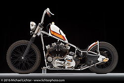 """""""Trucky"""", a 1976 split rocker Ironhead Sportster built by Taber Nash of Nash Motorcycle Company in Cerritos, CA. Photographed by Michael Lichter in Sturgis, SD on August 2, 2016. ©2016 Michael Lichter."""