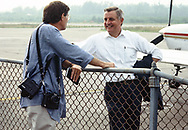 Dennis Brack talking to candidate for president Walter Mondale in June 1984<br /><br />Photograph by Dennis Brack