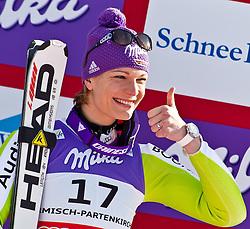 08-02-2011 SKIEN: FIS ALPINE WORLD CHAMPIONSSHIP: GARMISCH PARTENKIRCHEN<br /> Maria RIESCH (GER) third Place during Women Super G, Fis Alpine Ski World Championships in Garmisch Partenkirchen<br /> **NETHERLANDS ONLY**<br /> ©2011-WWW.FOTOHOOGENDOORN.NL/NPH-J. Feichter