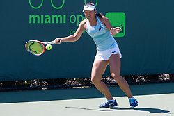 March 23, 2018 - Key Biscayne, FL, U.S. - KEY BISCAYNE, FL - MARCH 23: Claire Liu (USA) in action on Day 5 of the Miami Open Presented at Crandon Park Tennis Center on March 23, 2018, in Key Biscayne, FL. (Photo by Aaron Gilbert/Icon Sportswire) (Credit Image: © Aaron Gilbert/Icon SMI via ZUMA Press)