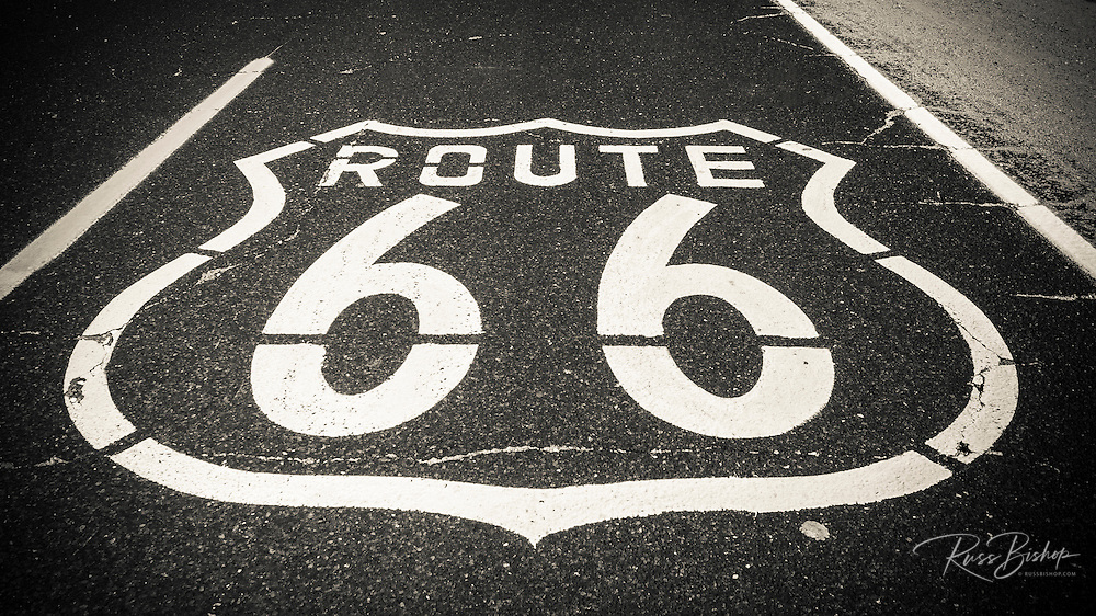 Highway marker on historic Route 66, Seligman, Arizona USA