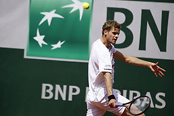 May 27, 2019 - Paris, France - Yannick Hanfmann of Germany plays a forehand during his mens singles first round match against Rafael Nadal of Spain during Day two of the 2019 French Open at Roland Garros on May 27, 2019 in Paris, France. (Credit Image: © Ibrahim Ezzat/NurPhoto via ZUMA Press)