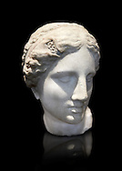 The Kaufmann Aphrodite head. 2nd century Roman marble copy modelled on the statue head of Aphrodite of Cnidus by Praixitele. Many Roman replicas exist of the Aphrodite of Cnidus which is one of the most famous statues of antiquity. The statue depicts the goddess bathing with a vase of water beside her. The lost original is a Hellenistic Greek sculpture made in 360-350 BC which is attributed to Athenian sculpture Praxiteles. Tradition has it that the model for the original was the lover of sculptor Phryne. The original is the oldest known female nude in Greek sculpture. Borghese Collection, Louvre Museum, Paris. Inv no MR657 ( Usual No Ma 421) .<br /> <br /> If you prefer to buy from our ALAMY STOCK LIBRARY page at https://www.alamy.com/portfolio/paul-williams-funkystock/greco-roman-sculptures.html- Type -    Louvre    - into LOWER SEARCH WITHIN GALLERY box - Refine search by adding a subject, place, background colour,etc.<br /> <br /> Visit our CLASSICAL WORLD HISTORIC SITES PHOTO COLLECTIONS for more photos to download or buy as wall art prints https://funkystock.photoshelter.com/gallery-collection/The-Romans-Art-Artefacts-Antiquities-Historic-Sites-Pictures-Images/C0000r2uLJJo9_s0c