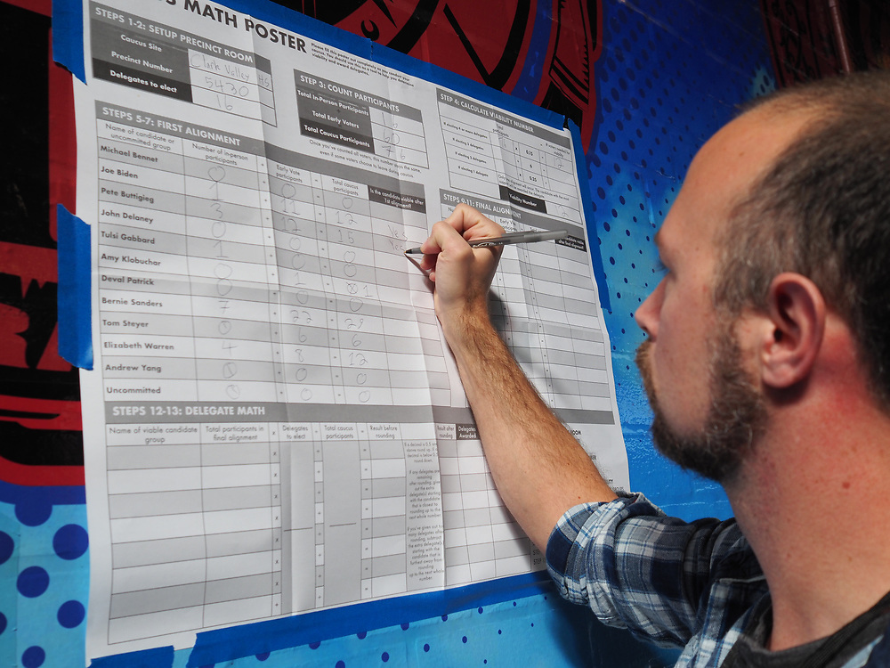 A caucus precinct chair tallies the first round alignment choices at Valley High School in Las Vegas, Nevada