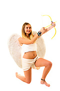 Cupid (Greek Eros) the god of desire, affection and erotic love In Roman mythology, in the current culture the personification of love and courtship. On white Background