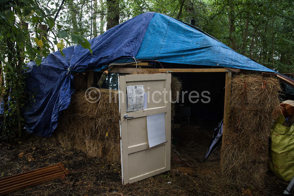 A straw house at Poors Piece Conservation Project is pictured on 23 September 2020 in Steeple Claydon, United Kingdom. Poors Piece Conservation Project was established by anti-HS2 activists with the full support of the landowner Clive Higgins to assist him in trying to conserve a strip of land on his farm containing a remnant of ancient woodland known as Poors Piece and to work alongside the local communities of Steeple Claydon and Calvert to try to protect their local environments from destruction for the HS2 high-speed rail link by means of communication and protest.