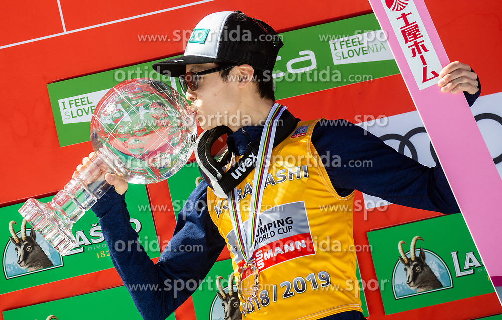 Winner Ryoyu Kobayashi (JPN) in Overall classification kissing a globe at trophy ceremony after the Ski Flying Hill Individual Competition at Day 4 of FIS Ski Jumping World Cup Final 2019, on March 24, 2019 in Planica, Slovenia. Photo by Vid Ponikvar / Sportida