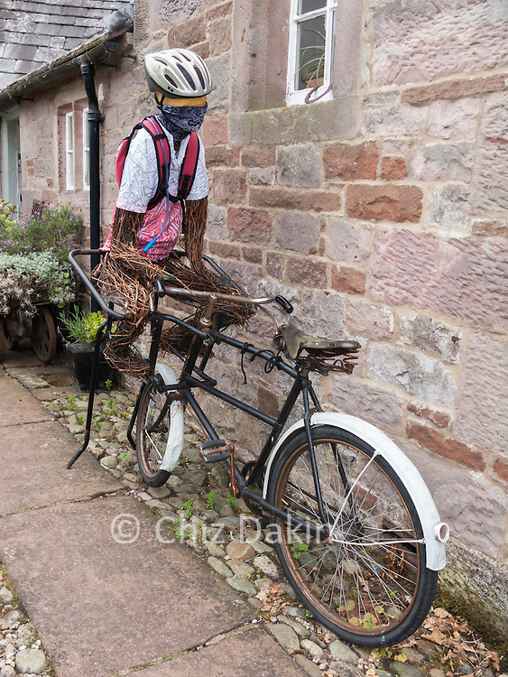 Cycling scarecrow - at Greystoke Cycle cafe