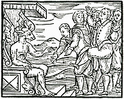 'Sorcerers paying homage to Satan at the Sabbath.  Woodcut from ''Copmpendium maleficarum'', Milan, 1608, by Francesco Maria Guazzo.'