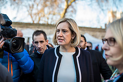 © Licensed to London News Pictures. 12/12/2018. London, UK. Former Home Secretary Amber Rudd arrives on College Green to give interviews. Prime Minister Theresa May faces a vote of no confidence from her own party this evening. Photo credit: Rob Pinney/LNP