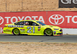 June 22, 2018 - Sonoma, CA, U.S. - SONOMA, CA - JUNE 22: Paul Menard, driving the #(21) Ford for Wood Brothers Racing exits turn 8a  on Friday, June 22, 2018 at the Toyota/Save Mart 350 Practice day at Sonoma Raceway, Sonoma, CA (Photo by Douglas Stringer/Icon Sportswire) (Credit Image: © Douglas Stringer/Icon SMI via ZUMA Press)