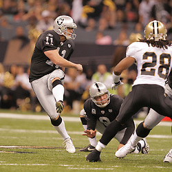 2008 October, 12: Oakland Raiders PK Sebastian Janikowski (11) attampts a field goal during a week six regular season game between the Oakland Raiders and the New Orleans Saints at the Louisiana Superdome in New Orleans, LA.