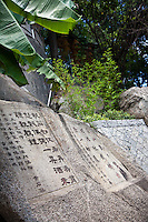 Blessings from the gods are carved into rocks around the A-Ma Temple in Macau for good luck.