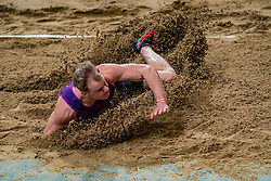 Rik Taam in action on long jump during the Dutch Athletics Championships on 13 February 2021 in Apeldoorn