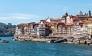 cityscape of Ribeira, Old Town, Porto, Portugal as seen from Vila Nova de Gaia across the Douro River