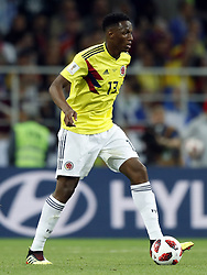 Yerry Mina of Colombia during the 2018 FIFA World Cup Russia round of 16 match between Columbia and England at the Spartak stadium  on July 03, 2018 in Moscow, Russia