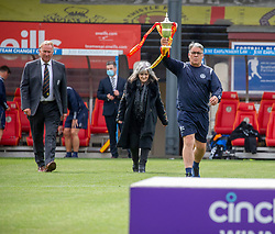 31JUL21Partick Thistle's manager Ian McCall. Unfurling the div one flag. Partick Thistle 3 v 2 Queen of the South. First Scottish Championship game of the season.