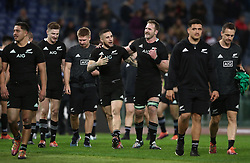 November 24, 2018 - Rome, Italy - Italy v New Zealand All Blacks - Rugby Cattolica Test Match.New Zealands TJ Perenara and New Zealands Kieran Read celebration at Olimpico Stadium in Rome, Italy on November 24, 2018. (Credit Image: © Matteo Ciambelli/NurPhoto via ZUMA Press)