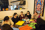 Members of the Kampüs Cadıları(Campus witches) make placards for the upcoming international women's day on March 8th 2018, at a cafe in Kadıköy district of Istanbul, Turkey.