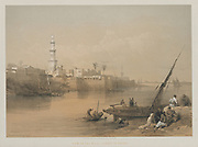 View on the Nile, Ferry to Gizeh 1849 By David Roberts