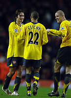 Photo: Paul Greenwood.<br />Liverpool v Arsenal. The FA Cup. 06/01/2007. Arsenal players, Tomas Rosicky, Gael Clichy and Phillippe Senderos celebrate at the final whistle