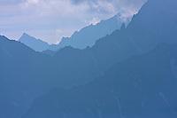 Ridges of mountains at the border between Slovakia and Poland. High Tatras, Slovakia. June 2009. Mission: Ticha