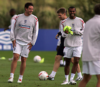 Photo: Paul Thomas.<br /> England Training Session. 01/09/2006.<br /> <br /> Wayne Bridge and Ashley Cole (R).