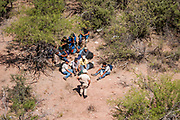 02 JUNE 2006 - NOGALES, ARIZONA: Undocumented immigrants apprehended with the assistance of an Immigration and Customs Enforcement (ICE) Black Hawk helicopter in the custody of a US Border Patrol agent wait for pickup by a BP transport van in the desert between Nogales, AZ, and Tucson, AZ.     PHOTO BY JACK KURTZ