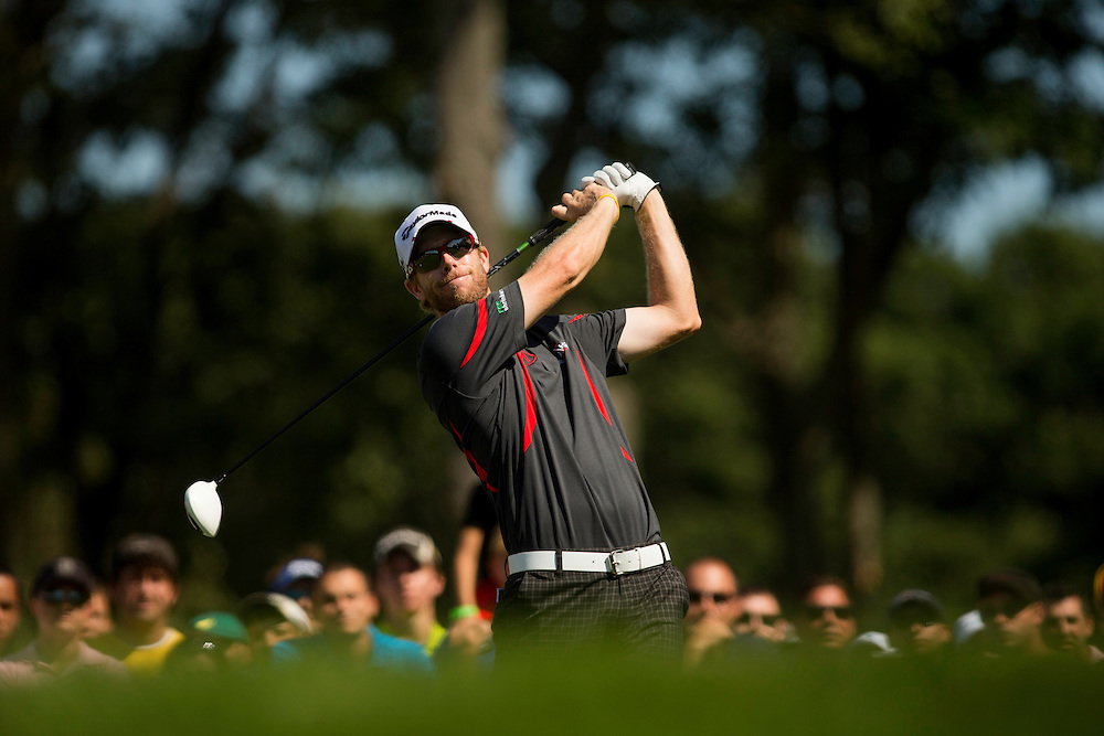 FARMINGDALE, NY - AUGUST 26:  David Hearn plays a tee shot during the final round of the 2012 Barclays at the Black Course at Bethpage State Park in Farmingale, New York on August 26, 2012. (Photograph ©2012 Darren Carroll) *** Local Caption *** David Hearn