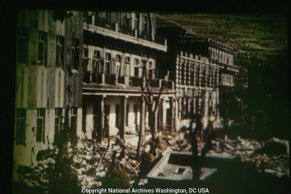 The Naval and hospital college near ground zero in Nagasaki.frame grabs for US Armed Forces color film shot in Nagasaki days after the bombing of Hiroshima.