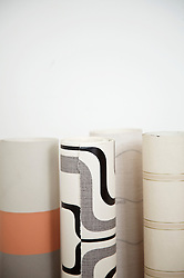 Close up of rolls of  wallpaper