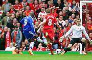 27.04.2014.  Liverpool, England. Chelsea's Demba Ba scores to make it 1-0   during the Barclays Premier League match between Liverpool and Chelsea at Anfield.
