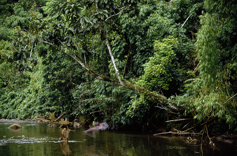Machiguenga Indian throwing Cast Net<br />