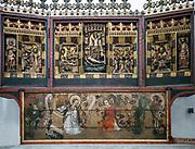 Gdańsk, (woj. pomorskie) 16.08.2014. Ołtarz Św. Doroty znajdujący się w Kaplicy św. Jerzego w kościele Mariackim w Gdańsku (fragment).