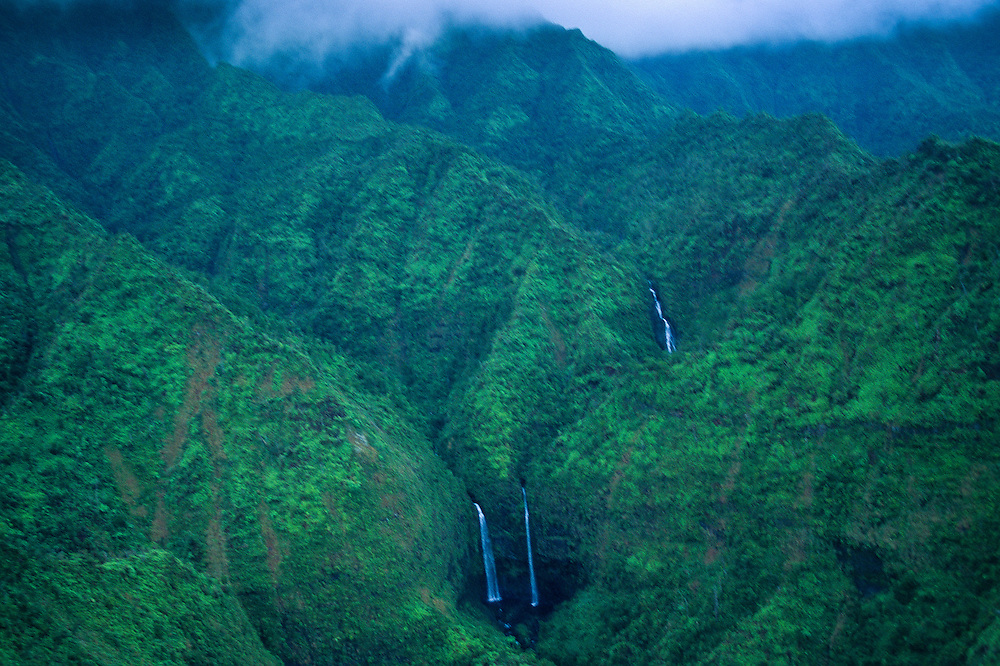 Waterfalls on Mount Wai'ale'ale, the Wettest Spot on Earth (Aerial), Kauai, Hawaii, US