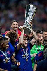 24-05-2017 SWE: Final Europa League AFC Ajax - Manchester United, Stockholm<br /> Finale Europa League tussen Ajax en Manchester United in het Friends Arena te Stockholm / Een blije Daley Blind #17 met de cup