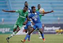 Benjamin Mosha of Sony Sugar challenges Dairus Msagha of Bandari FC during their GOTv Shield quarter finals at Nyayo Stadium in Nairobi on August 19, 2017. Sony won 3-1. Photo/Fredrick Omondi/www.pic-centre.com(KENYA)