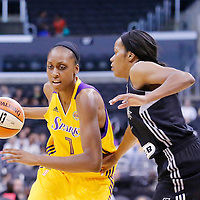 25 May 2014: Los Angeles Sparks forward/center Sandrine Gruda (7) drives to the basket during the Los Angeles Sparks 83-62 victory over the San Antonio Stars, at the Staples Center, Los Angeles, California, USA.