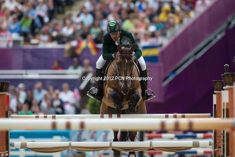 Alvaro Affonso de Miranda Neto (BRA) riding RAHMANNSHOF'S BOGENO in the Individual Jumping Equestrian event at the Olympic Summer Games, London 2012