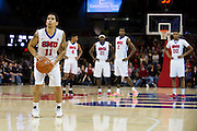 DALLAS, TX - NOVEMBER 25: Nic Moore #11 of the SMU Mustangs shoots a free-throw against the Arkansas Razorbacks on November 25, 2014 at Moody Coliseum in Dallas, Texas.  (Photo by Cooper Neill/Getty Images) *** Local Caption *** Nic Moore