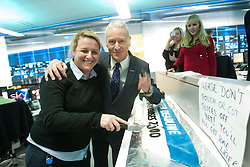 Jim White at the Sky Sports TV studio for the transfer Deadline Day show. Pic cutting the Deadline cake. .© Michael Schofield.....