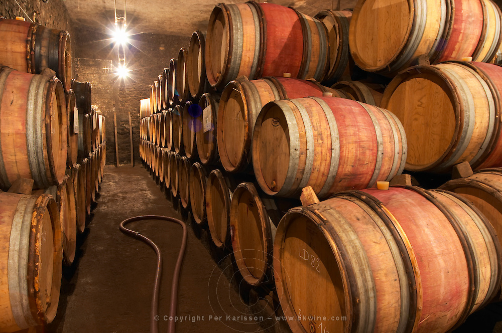 In the Chapoutier winery. The barrel aging cellar with stacks of oak casks.  Domaine M Chapoutier, Tain l'Hermitage, Drome Drôme, France Europe