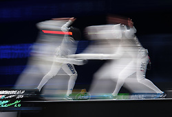 WUXI, July 27, 2018  Alessio Foconi (L) of Italy fights with Alexander Massialas of the US during the men's foil team final between Italy and the United States at the Fencing World Championships in Wuxi, east China's Jiangsu Province, July 27, 2018. Italy beat US 45-34 and claimed the title of the event. (Credit Image: © Li Bo/Xinhua via ZUMA Wire)