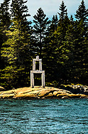 A Granite Sculpture on the shoreline in Penobscot Bay, Maine.