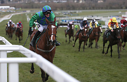 Jockey David Mullins on board Carefully Selected during the Weatherby's Champion Bumper race during Ladies Day of the 2018 Cheltenham Festival at Cheltenham Racecourse. PRESS ASSOCIATION Photo. Picture date: Wednesday March 14, 2018. See PA story RACING Cheltenham. Photo credit should read: David Davies/PA Wire. RESTRICTIONS: Editorial Use only, commercial use is subject to prior permission from The Jockey Club/Cheltenham Racecourse.