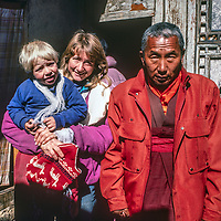 The Tibetan Buddhist Rimpoche ofTengboche Monastery in Nepal Boses with Meredith Wiltsie and her son Ben.