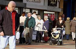 People shopping in Wallsend High Street; Tyneside; NE England