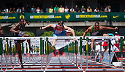 L-R David Oliver of the USA, Sergey Subenkov of Russia and Ashton Eaton of the USA clear hurdles in the Prefontaine Classic's Men's 110m Hurdles. The event was won by Pascal Martinot-Lagarde of France with a time of 13.13.   The Prefontaine Classic, the longest-running international invitational meet in the United States, turns 40 this year.<br /> The 2014 elite competition held in Eugene, Oregon at the University of Oregon's historic Hayward Field is in it's 5th year hosting the IAAF's Diamond League event.